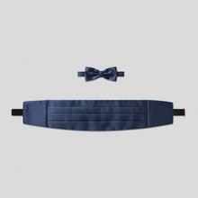 Load image into Gallery viewer, Folkespeare French Navy Satin Cummerbund And Bow Tie Set