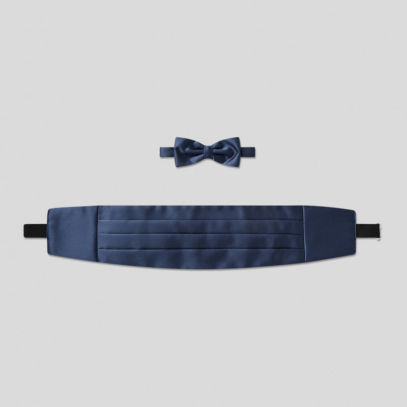 Folkespeare French Navy Satin Cummerbund And Bow Tie Set