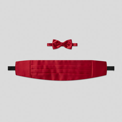 Folkespeare Wine Satin Cummerbund And Bow Tie Set