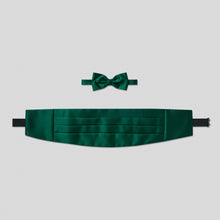 Load image into Gallery viewer, Folkespeare Bottle Green Satin Cummerbund And Bow Tie Set