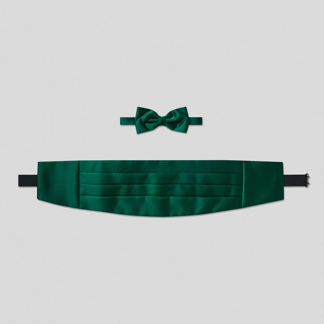 Folkespeare Bottle Green Satin Cummerbund And Bow Tie Set