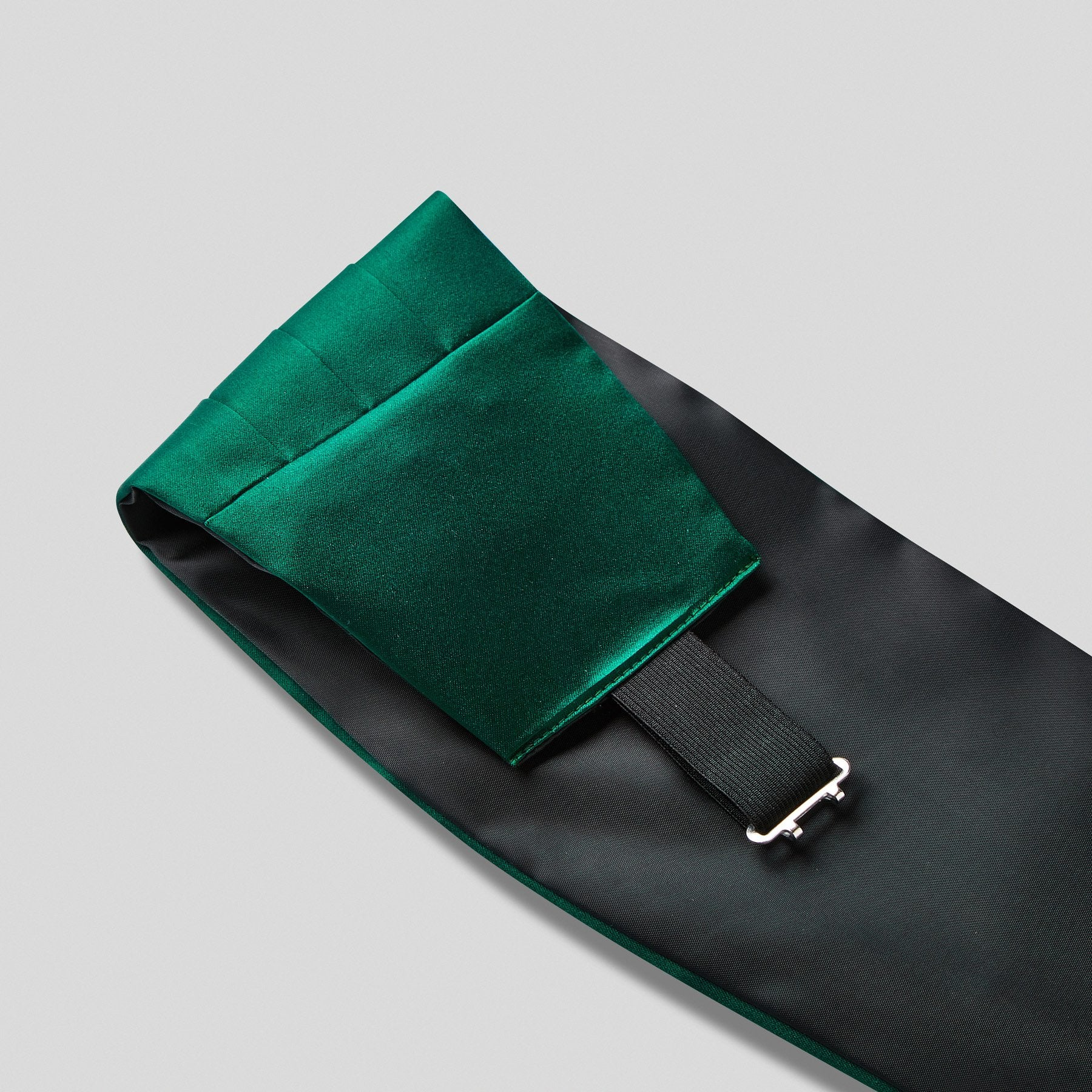 Folkespeare Bottle Green Satin Cummerbund And Bow Tie Set Fabric And Fastening