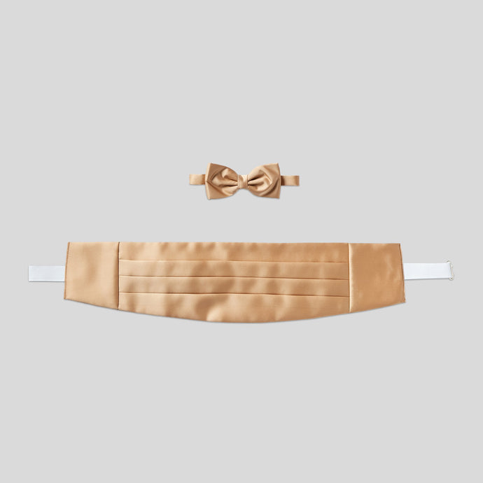 Folkespeare Beige Satin Cummerbund And Bow Tie Set