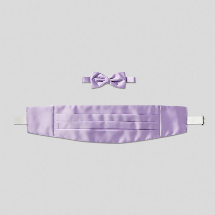 Folkespeare Lilac Satin Cummerbund And Bow Tie Set