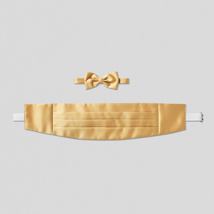 Folkespeare Gold Satin Cummerbund And Bow Tie Set