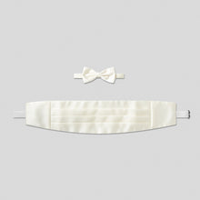Load image into Gallery viewer, Folkespeare Ivory Satin Cummerbund And Bow Tie Set