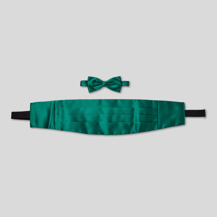 Folkespeare Forest Green Satin Cummerbund And Bow Tie Set