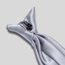 Load image into Gallery viewer, TC0030-07-Folkespeare-Silver-Grey-Satin-Clip-On-Tie-2