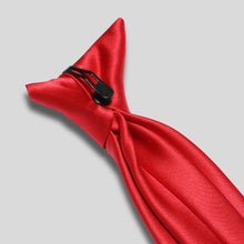 Load image into Gallery viewer, Folkespeare Scarlet Red Satin Clip on Tie Clip