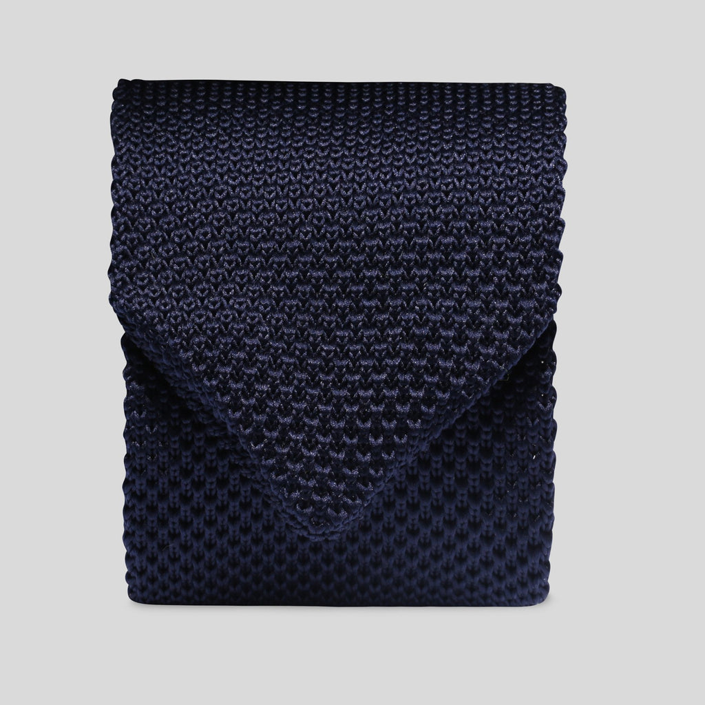 Folkespeare Navy Knitted Slim Tie