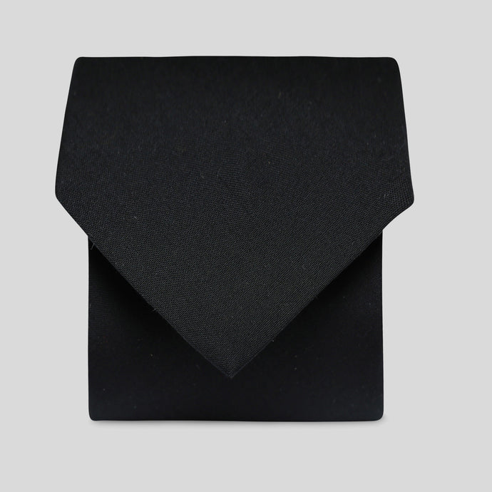 Black Polyester Cotton Mens Tie