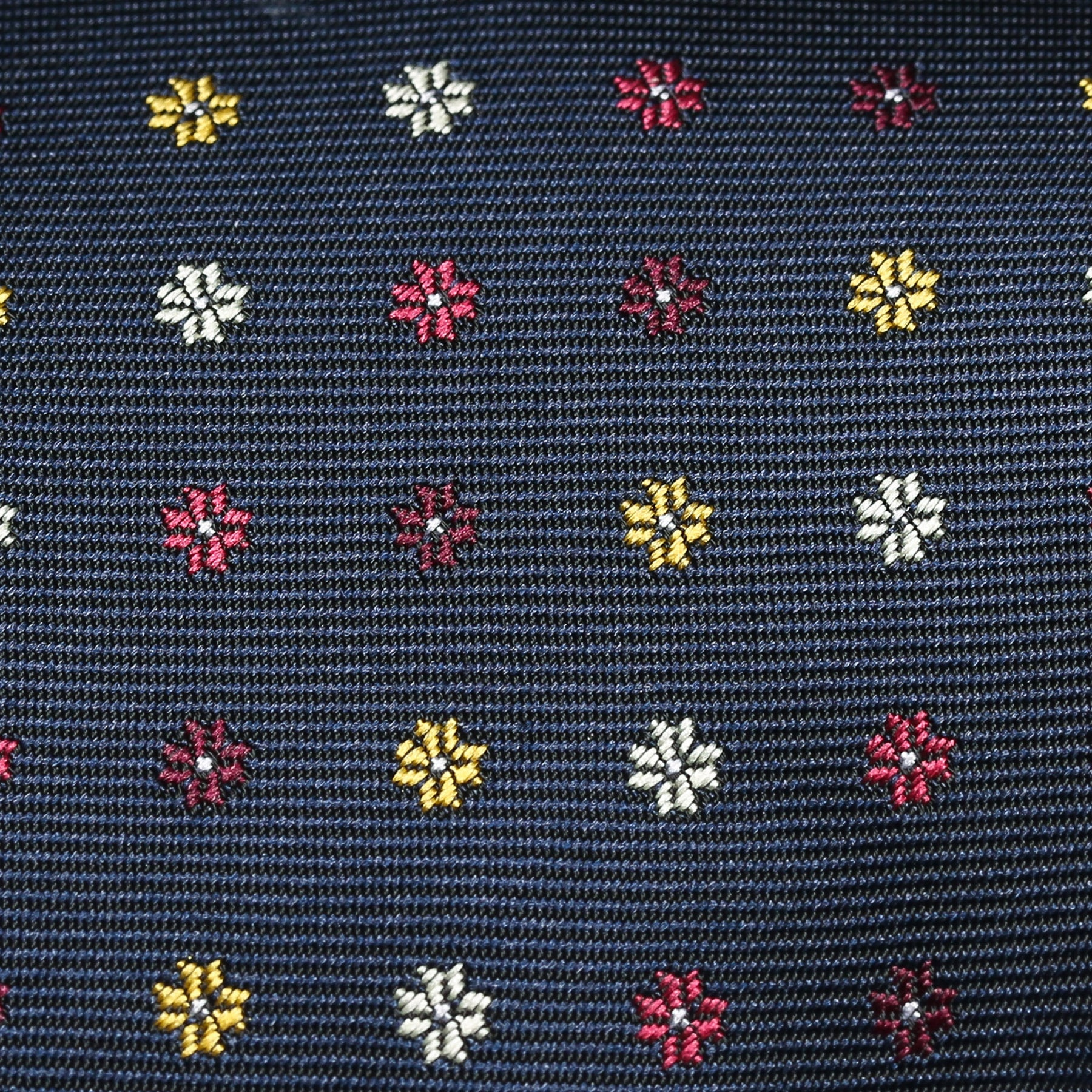 Dark Navy And Yellow Mini Neat Floral Classic Tie