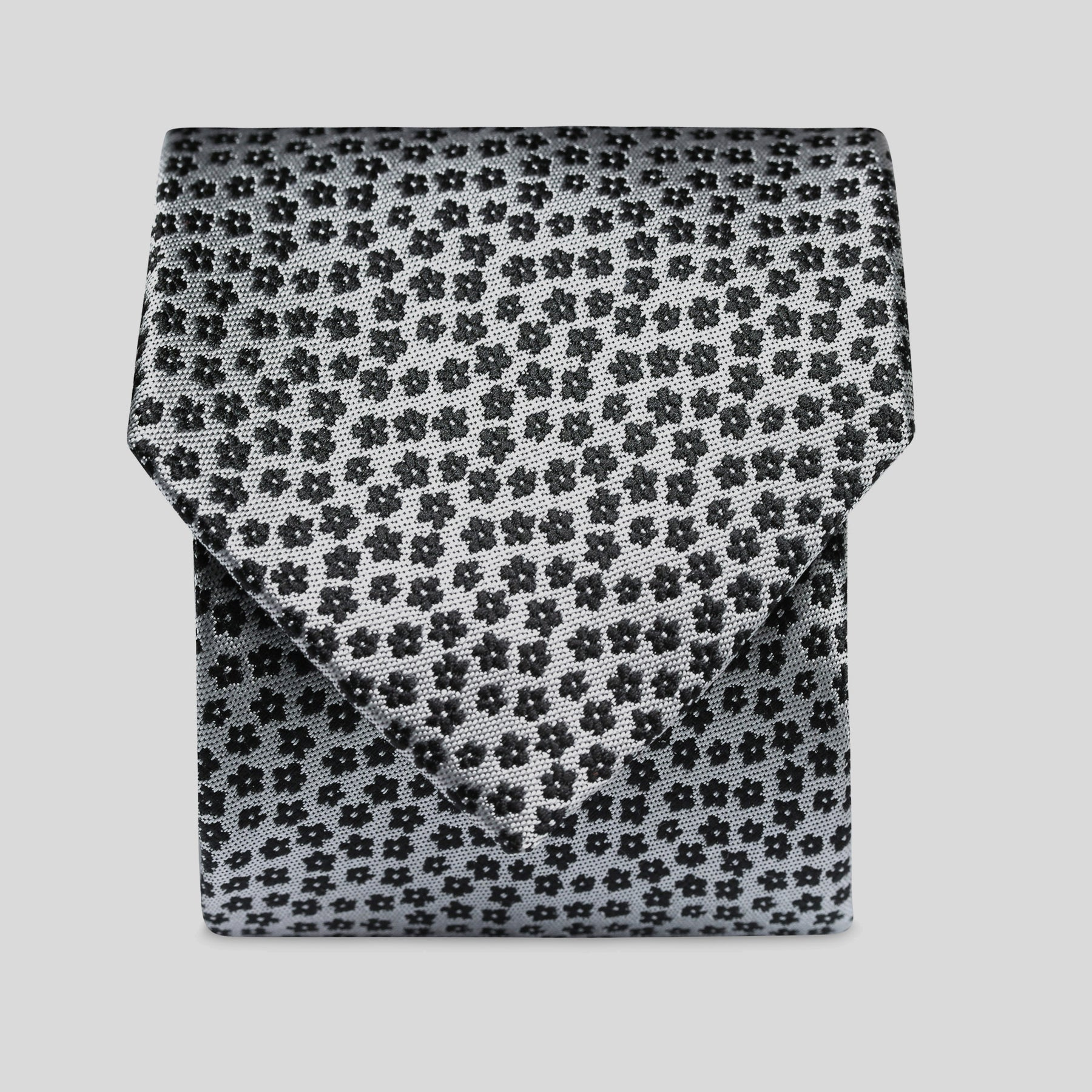Black And Grey Minature Floral Classic Tie