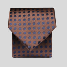 Load image into Gallery viewer, TM2783-01-Folkespeare-Chocolate-Brown-And-Dark-Navy-Polka-Dot-Classic-Tie-1