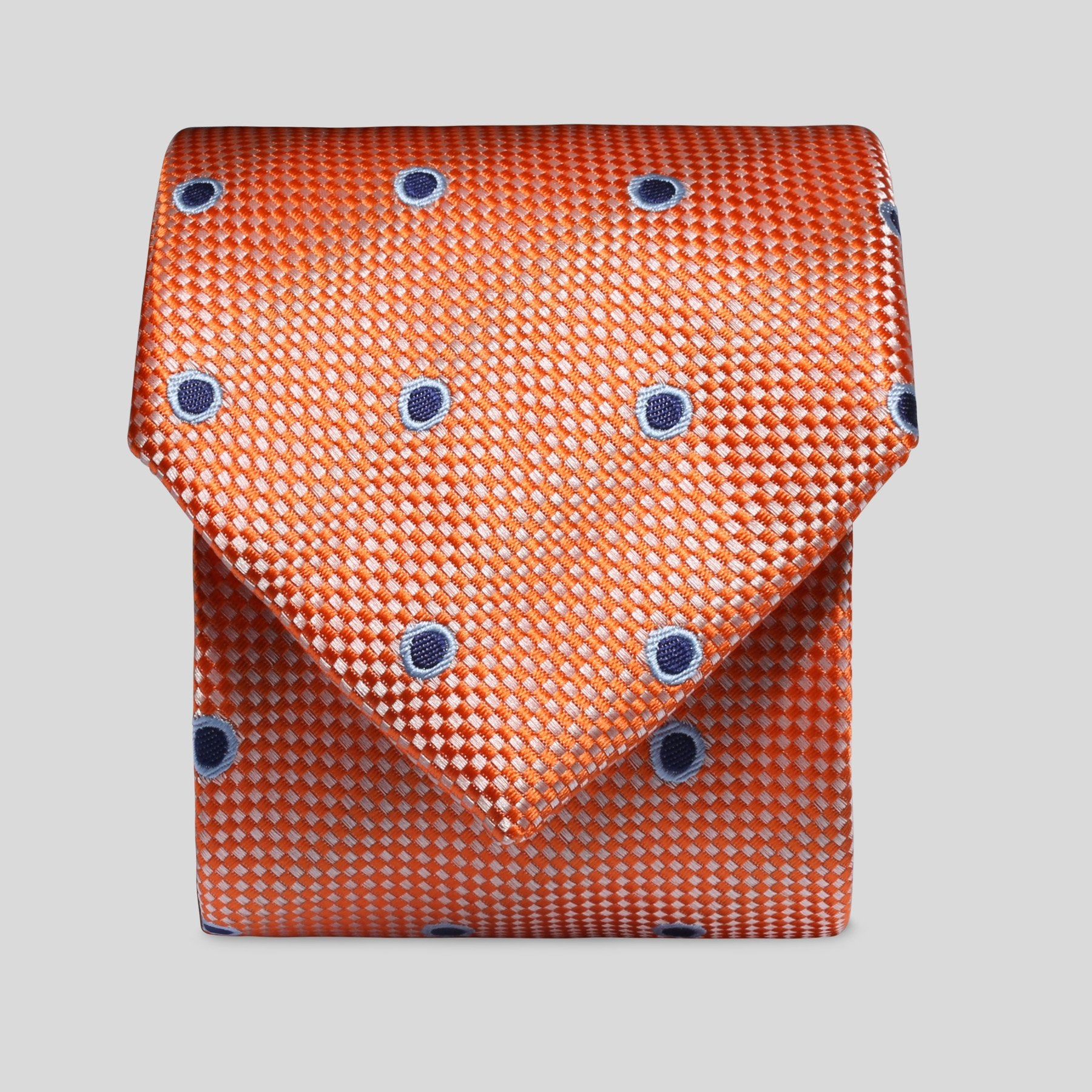 TM2798-02-Folkespeare-Bright-Orange-And-Navy-Wide-Spread-Polka-Dot-Classic-Tie-1