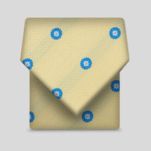 Load image into Gallery viewer, Lemon Herringbone With Blue Daisy Classic Tie