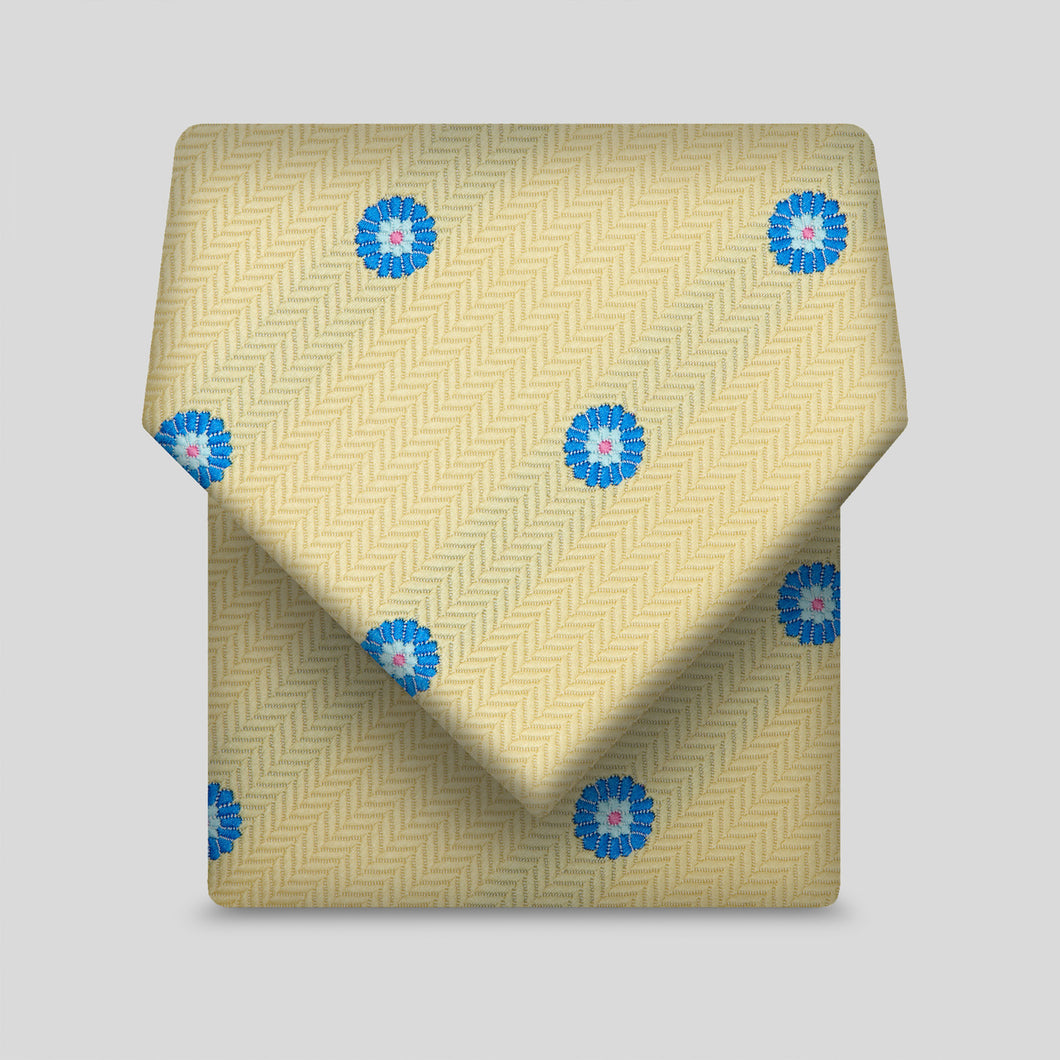 Lemon Herringbone With Blue Daisy Classic Tie