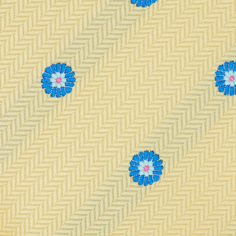 Lemon Herringbone With Blue Daisy Classic Tie Fabric