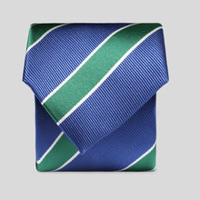 Load image into Gallery viewer, Folkespeare Aegean Blue With Large Forest Green Stripe Classic Tie