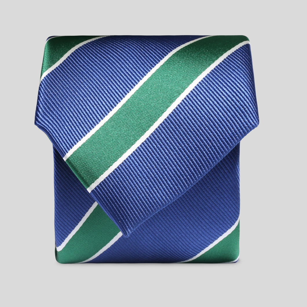 Folkespeare Aegean Blue With Large Forest Green Stripe Classic Tie