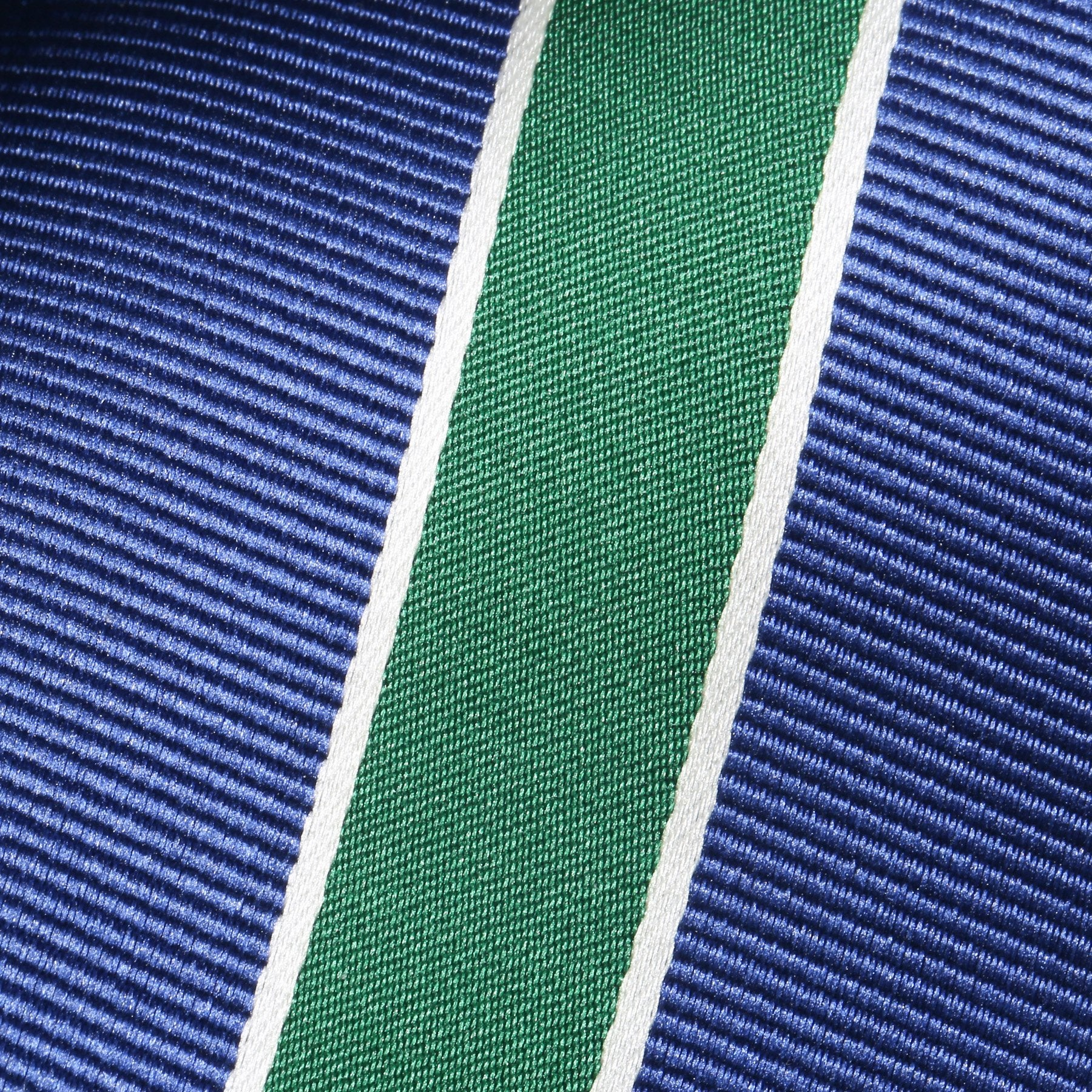 Folkespeare Aegean Blue With Large Forest Green Stripe Classic Tie Fabric