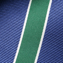 Load image into Gallery viewer, Folkespeare Aegean Blue With Large Forest Green Stripe Classic Tie Fabric