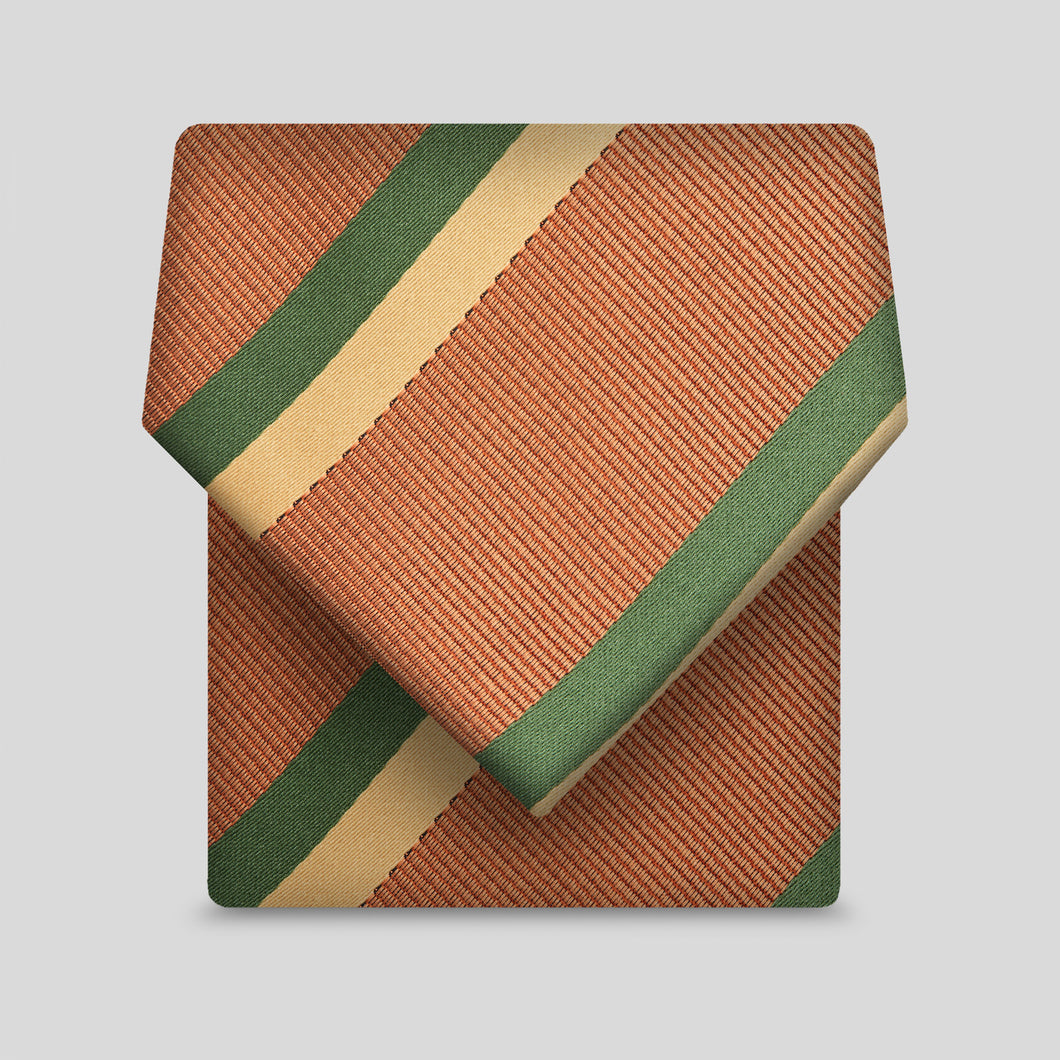 Squash, Gold And Forest Green Stripe Classic Tie