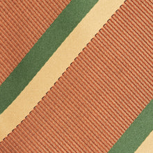 Load image into Gallery viewer, Squash, Gold And Forest Green Stripe Classic Tie Fabric