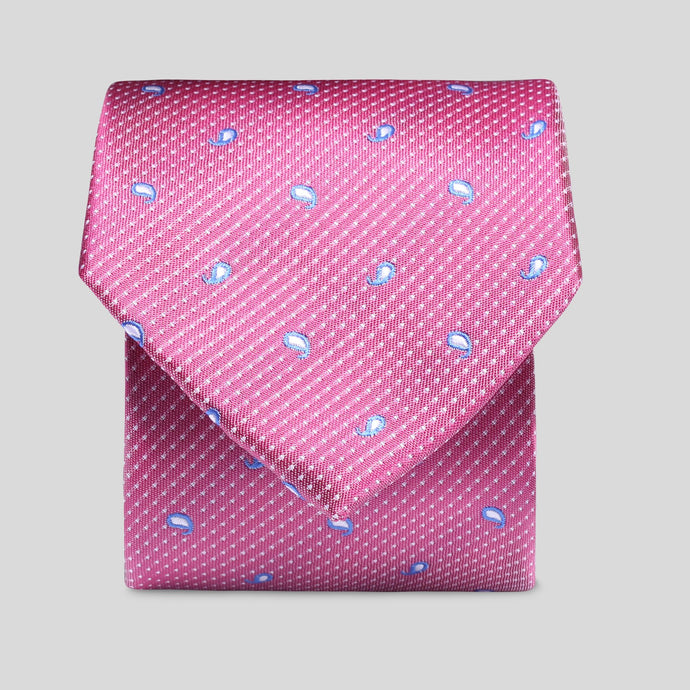 TM2825-02-Folkespeare-Rose-Pink-With-Blue-And-White-Tear-Drop-Classic-Tie-1