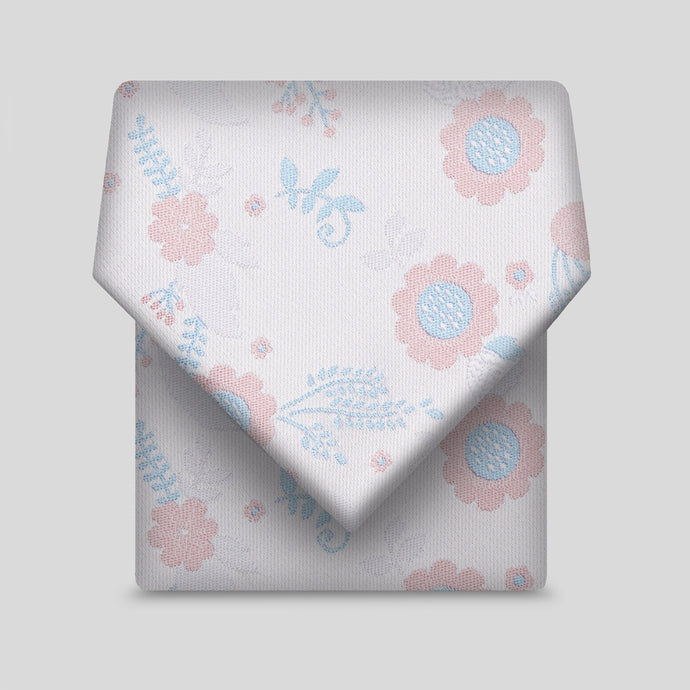 Baby Pink And Blue Floral Classic Tie