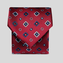 Load image into Gallery viewer, Wine With Silver And Blue Block Design Classic Tie