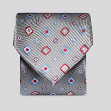 Load image into Gallery viewer, Silver With Wine And Cornflower Design Classic Tie