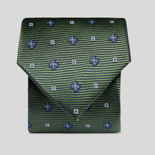 Load image into Gallery viewer, Moss Green With Blue Flowers Classic Tie
