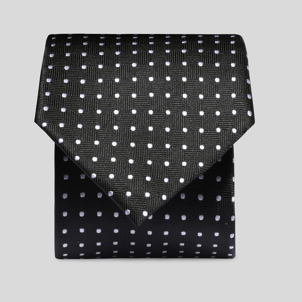 Folkespeare Black And White Mini Graph Polka Dot Classic Tie