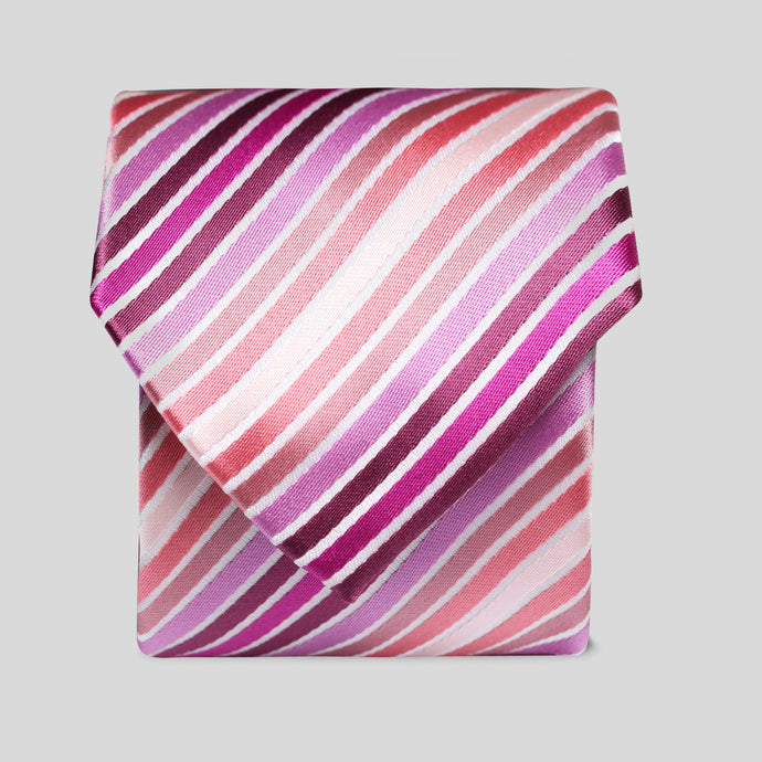 Pink And White Fine Stripe Classic Tie
