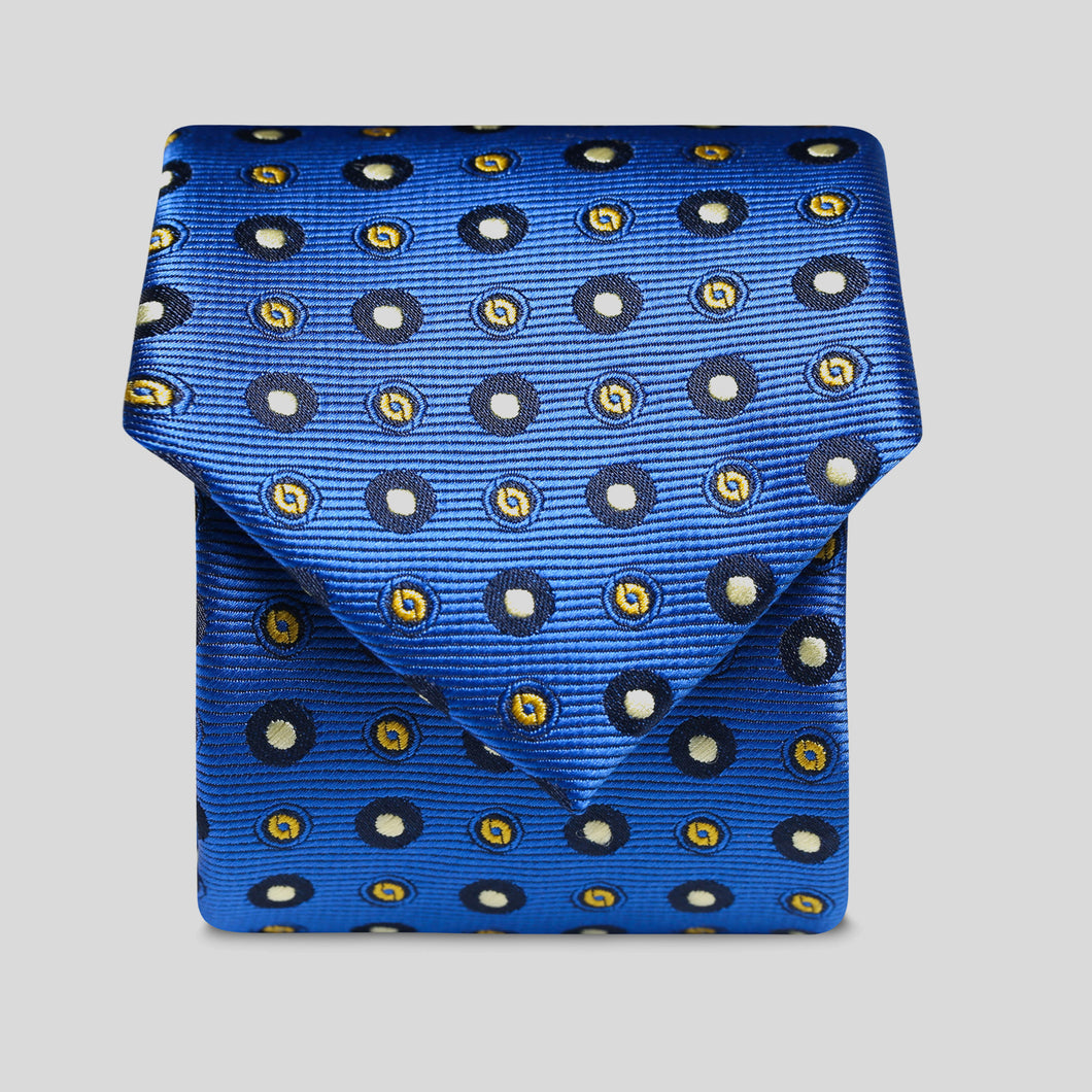 Folkespeare Bright Blue Amd White Continued Pattern Polka Dot Slim Tie
