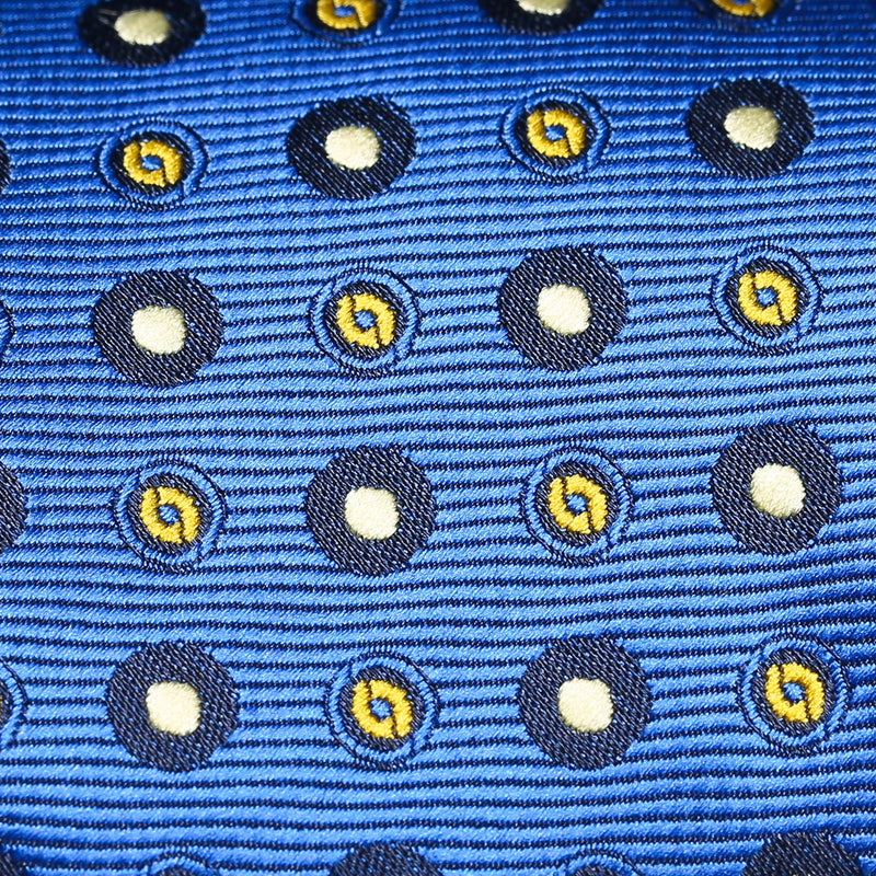 Folkespeare Bright Blue Amd White Continued Pattern Polka Dot Slim Tie Fabric