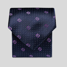 Load image into Gallery viewer, Dark Navy And Purple Mini Shape Pattern Slim Tie