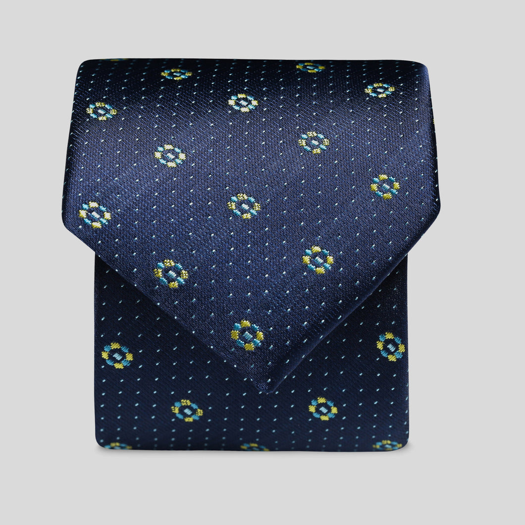 Dark Navy And Yellow Mini Shape Pattern Slim Tie