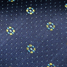Load image into Gallery viewer, Dark Navy And Yellow Mini Shape Pattern Slim Tie
