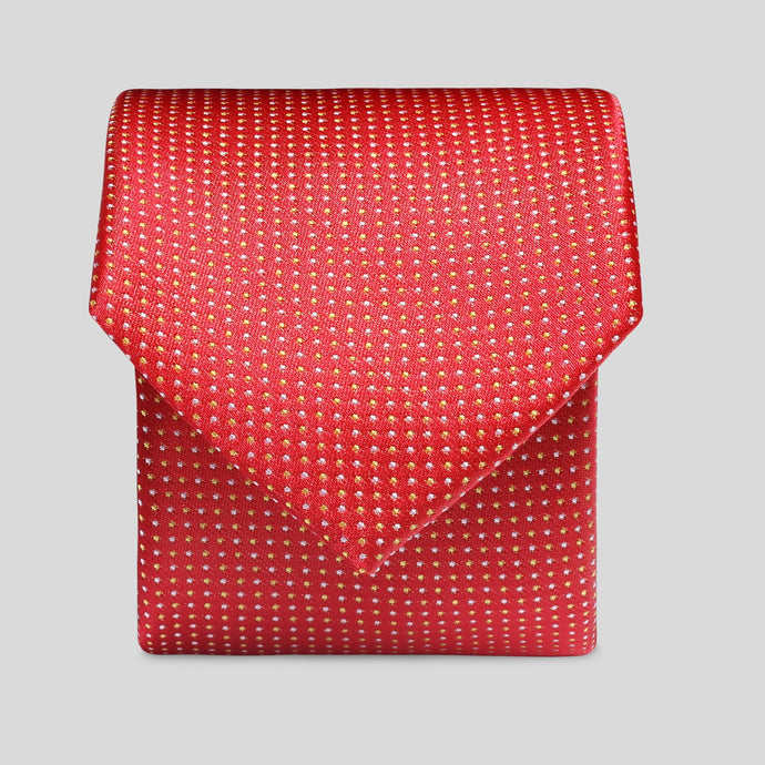 Folkespeare Red And Yellow Mini Graph Polka Slim Tie