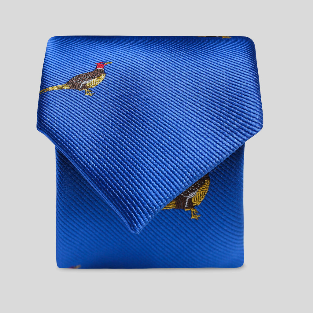 Royal Blue Pheasant Slim Tie