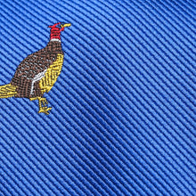Load image into Gallery viewer, Folkespeare Royal Blue Pheasant Slim Tie Fabric