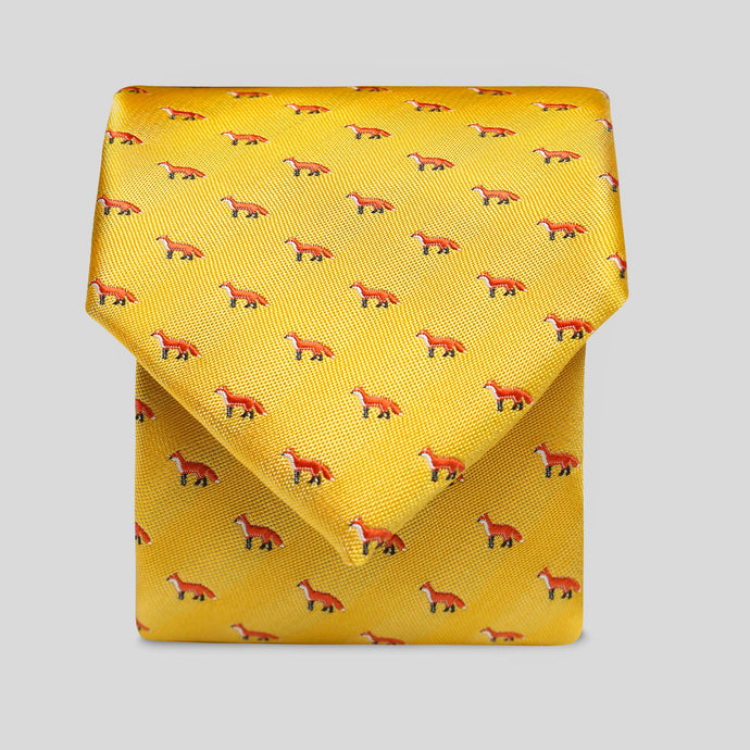 Folkespeare Bright Yellow Fox Slim Tie