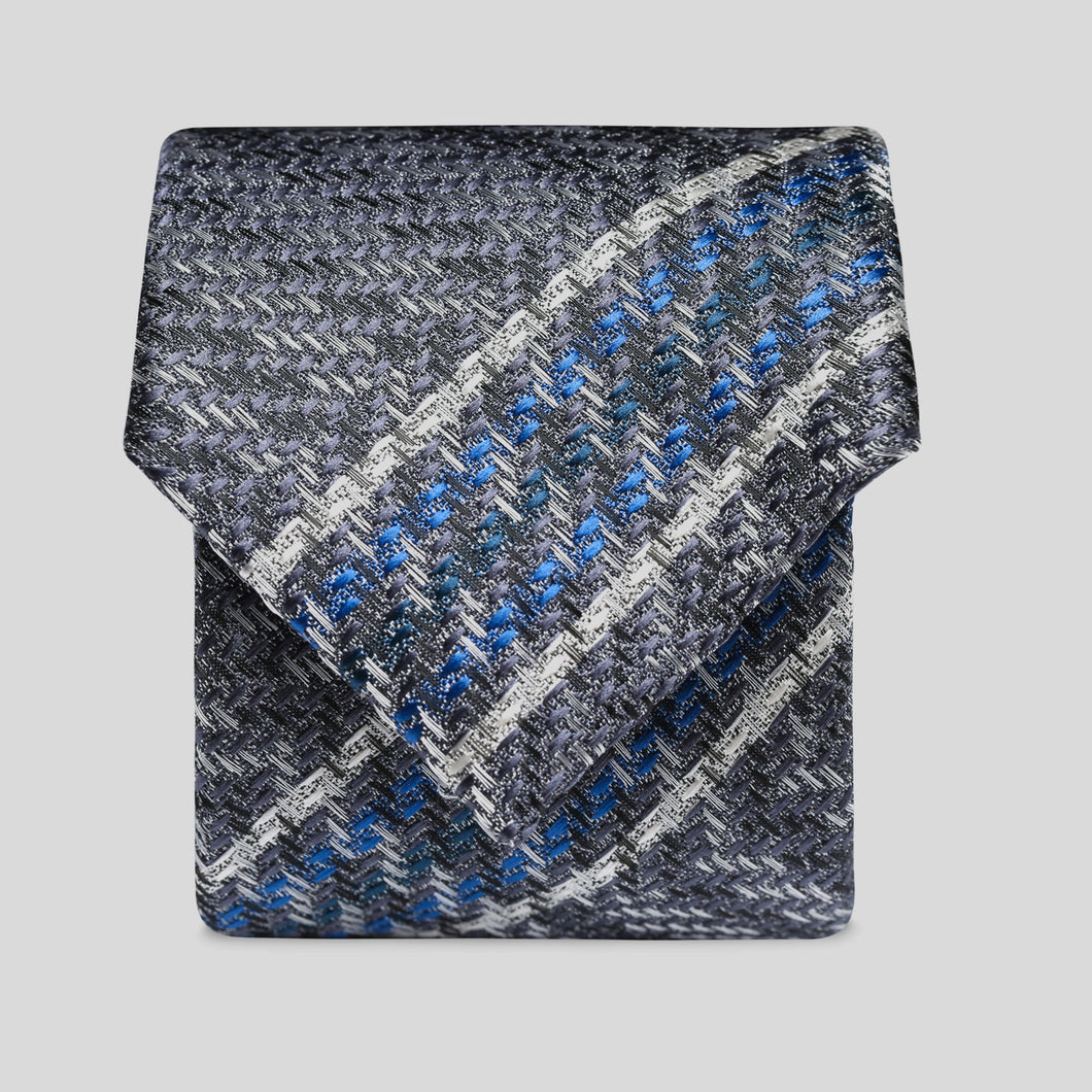 Folkespeare Turquoise And Blue Textured Stripe Slim Tie