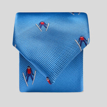 Load image into Gallery viewer, Folkespeare Mid Blue Flying Skier Slim Tie