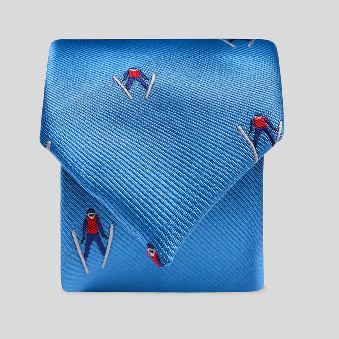 Folkespeare Mid Blue Flying Skier Slim Tie