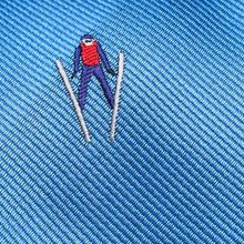 Load image into Gallery viewer, Folkespeare Mid Blue Flying Skier Slim Tie Fabric