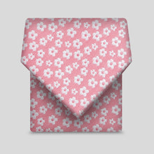 Load image into Gallery viewer, Rose Pink With White Ditsy Flower Pattern Slim Tie