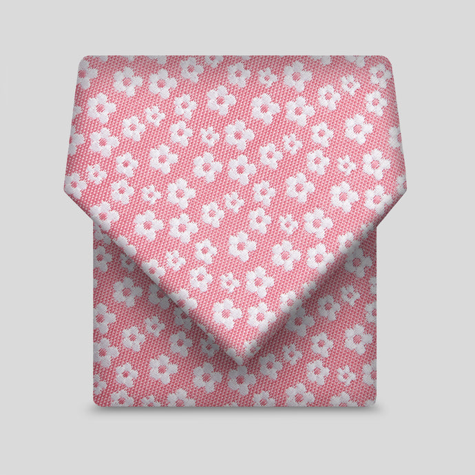 Rose Pink With White Ditsy Flower Pattern Slim Tie